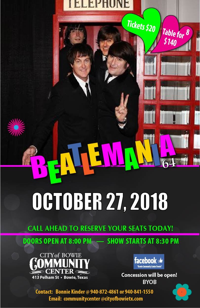 Bowie Community Center Beatlemania Poster